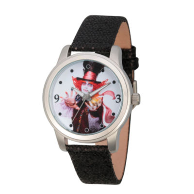 Disney® Womens Alice In Wonderland Black And Silver Tone the Mad Hatter Strap Watch
