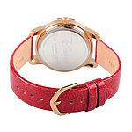 Disney® Womens Alice In Wonderland Red And Gold Tone Red Queen Strap Watch