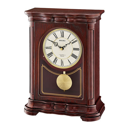 Seiko® Brown Wooden Musical Mantel Clock With Pendulum Qxw242blh