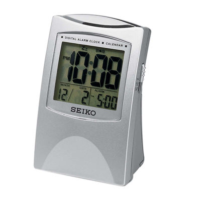 Seiko® Bedside Alarm With Get Up And Glow And LcdFeatures Silver Tone Clock Qhl005slh