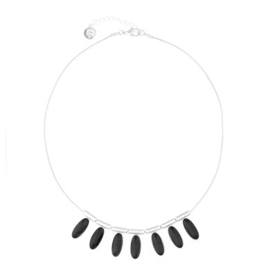 Liz Claiborne® 1820 Frontal Collar Black & Silver-Tone Necklace