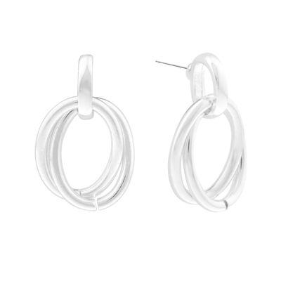 Liz Claiborne® Double Drop Silver-Tone Earrings