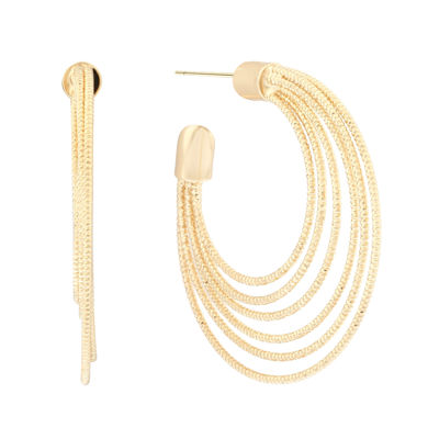Liz Claiborne® Gold-Tone Textured Hoop Earrings