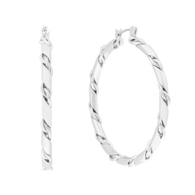 Liz Claiborne® Silver-Tone Twist Chain Hoop Earrings