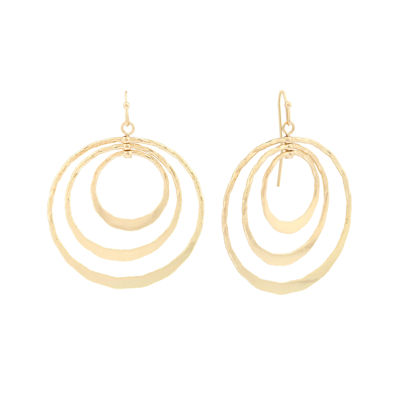 Liz Claiborne® Gold-Tone Triple Circle Drop Earrings
