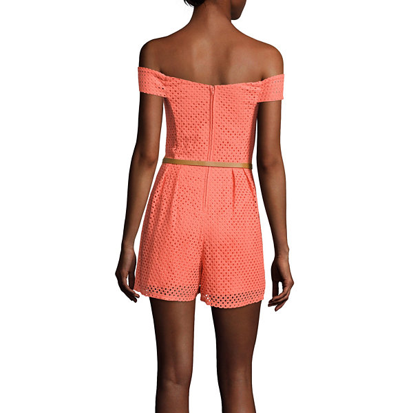 City Triangles® Sleeveless Off-the-Shoulder Crochet Lace Romper