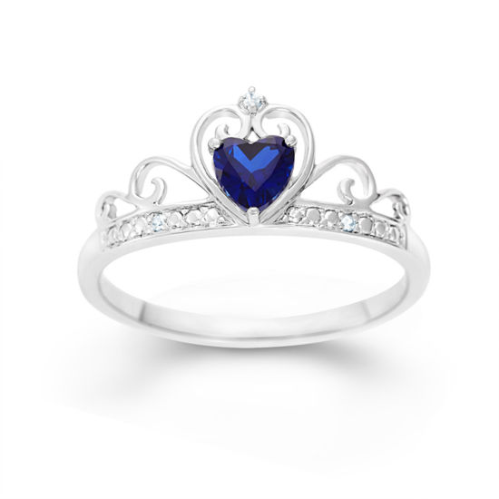 Sterling Silver Lab Created Blue Sapphire & Simulated Diamond Crown Ring