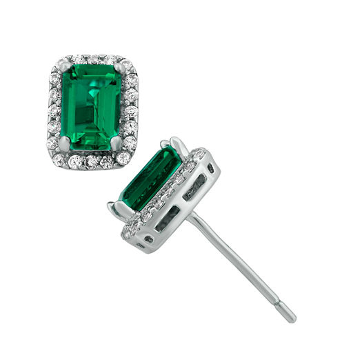 Lab-Created Emerald-Cut Emerald & Cubic Zirconia Sterling Silver Earrings