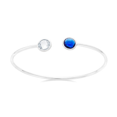 Blue & White Simulated Sapphire Sterling Silver Round Bangle