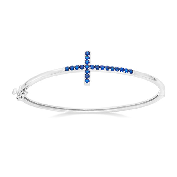 Sterling Silver Simulated Blue Sapphire Sideways Cross Bangle