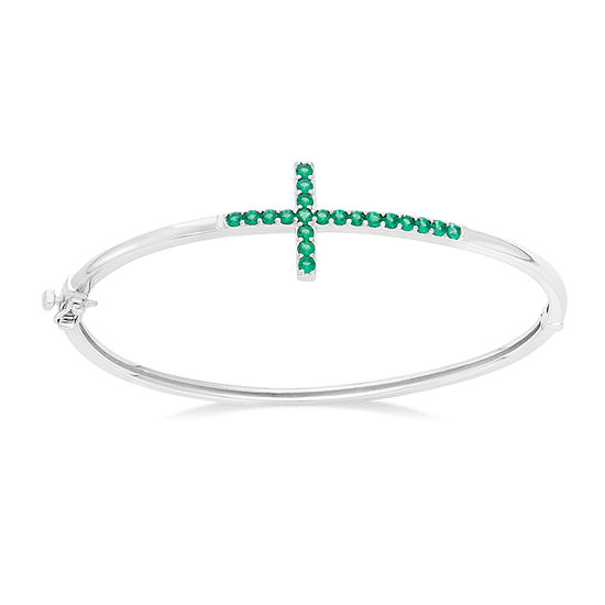 Simulated Emerald Sterling Silver Sideways Cross Bangle