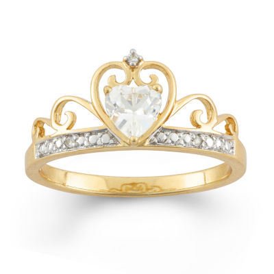 Lab-Created White Sapphire 18K Gold Over Silver Tiara Ring