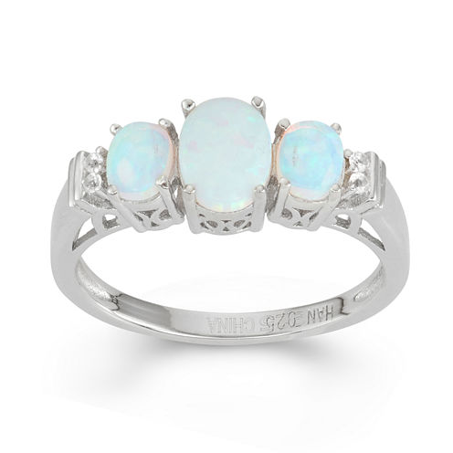 Lab-Created Opal & White Sapphire Sterling Silver 3 Stone Ring