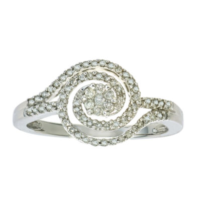 diamond blossom 1/4 CT. T.W. 10K White Gold Ring
