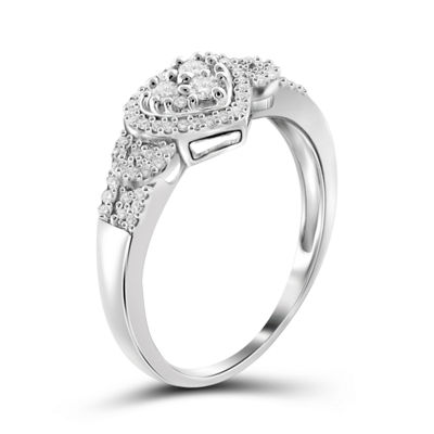 1/4 CT. T.W. Diamond 10K White Gold Heart Ring