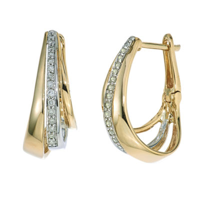 1/5 CT. T.W. Diamond Hoop Earring In 10K Yellow Gold