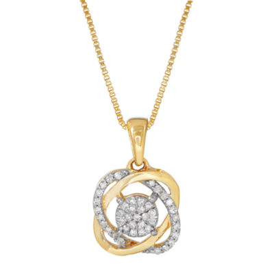 1/7 CT. T.W. Diamond 10K Yellow Gold Pendant Necklace