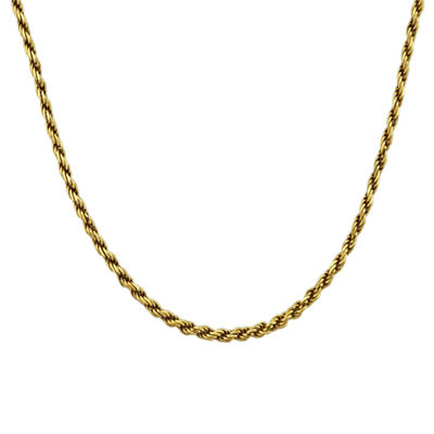 "Mens 18K Yellow Gold Over Silver 20"" Rope Chain Necklace"
