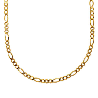 "Mens 18K Yellow Gold Over Silver 24"" Figaro Chain Necklace"