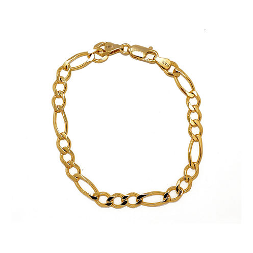 "Mens 18K Yellow Gold Over Silver 8"" Figaro Chain Bracelet"