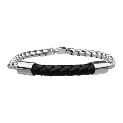 Inox® Jewelry Mens Stainless Steel Box Chain & Black Leather Bracelet