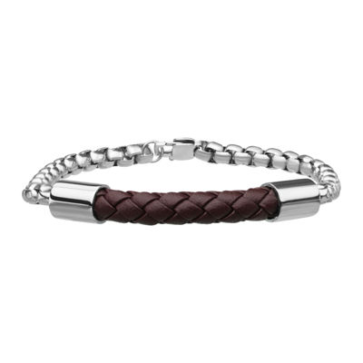 Inox® Jewelry Mens Stainless Steel Chain & Brown Leather Bracelet