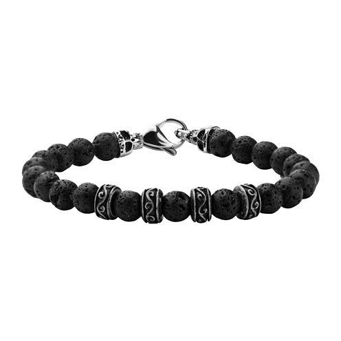 Inox® Jewelry Mens Black Lava Stone & Stainless Steel Bead Bracelet