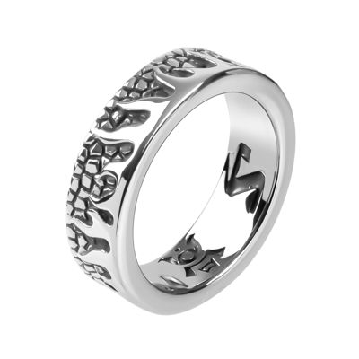 Mens Stainless Steel Flame Ring