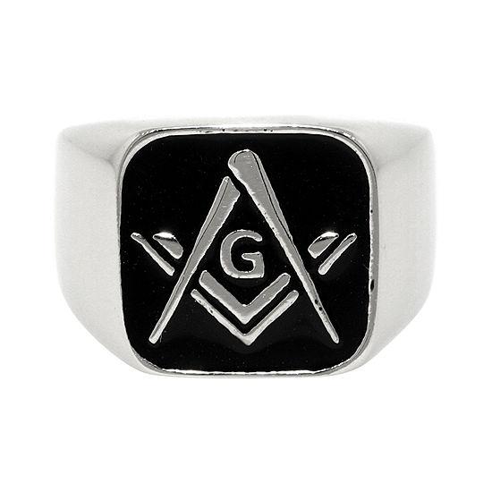 Mens Stainless Steel & Enamel Masonic Signet Ring