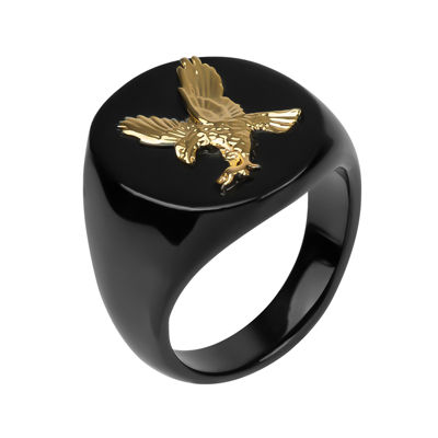 Mens Stainless Steel Eagle Signet Ring