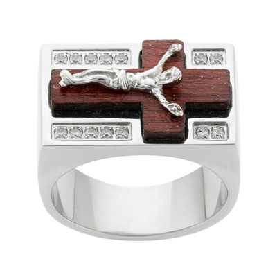 Mens Cubic Zirconia Stainless Steel & Wood Crucifix Ring