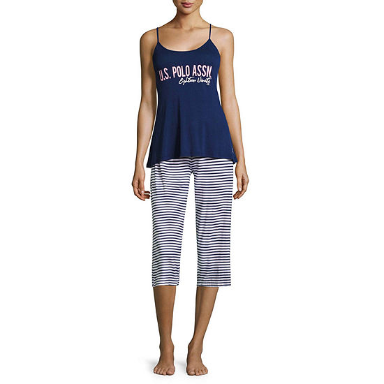 Us Polo Assn. Womens-Juniors Capri Pajama Set Short Sleeve