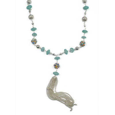 Decree®Green Bead Silver-Tone Tassel Necklace