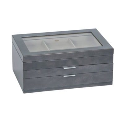 Mele & Co. Glass Top Grey Wooden Jewelry Box