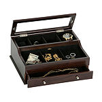 Mele & Co. Men's Glass Top Wooden Dresser Top Valet in Mahogany Finish