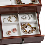 Mele & Co. Wooden Jewelry Box in Walnut Finish with Floral Inlay