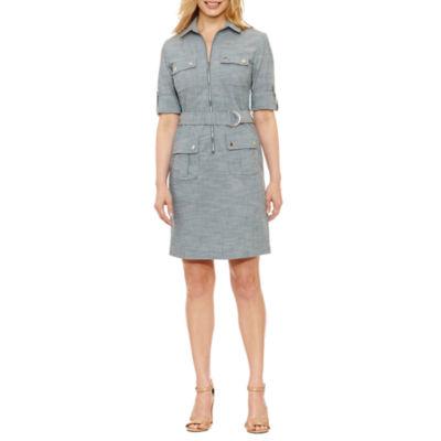 Sharagano 3/4 Sleeve Shirt Dress-Petites