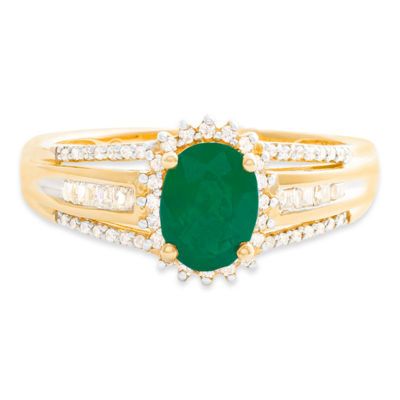 Womens Diamond Accent Genuine Emerald 10K Gold Cocktail Ring