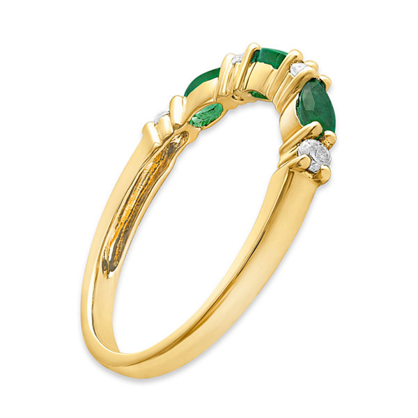 Womens 1/10 CT. T.W. Genuine Emerald 10K Gold Cocktail Ring