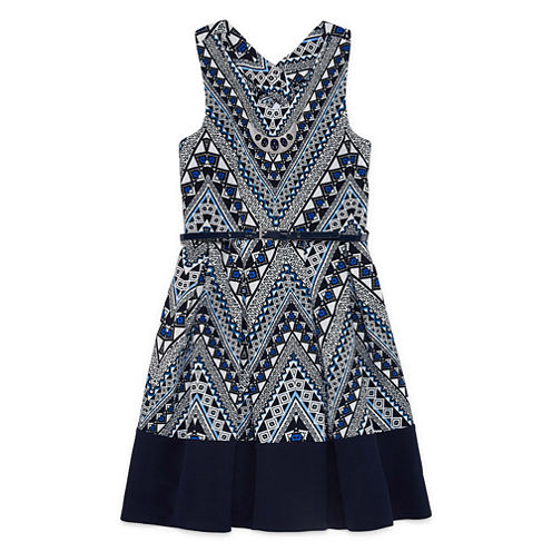 Knit Works Printed Bow-Back Dress - Girls' 7-16
