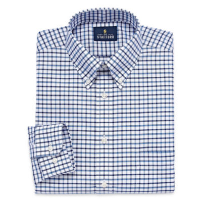 Stafford Travel Wrinkle-Free Oxford Long Sleeve Dress Shirt Big And Tall Long Sleeve Woven Grid Dress Shirt