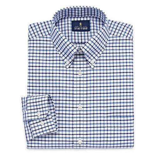 Stafford Travel Wrinkle-Free Oxford Long Sleeve Dress Shirt Big And Tall Long Sleeve Woven Grid Dress Shirt
