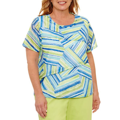 Alfred Dunner Corsica Stripe Tiered Patch T-Shirt-Plus