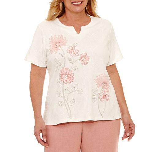 Alfred Dunner Botanical Garden Embroidered Flower T-Shirt- Plus