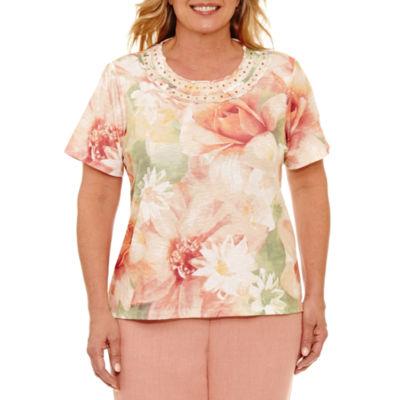 Alfred Dunner Botanical Garden Floral Crew Neck T-Shirt- Plus