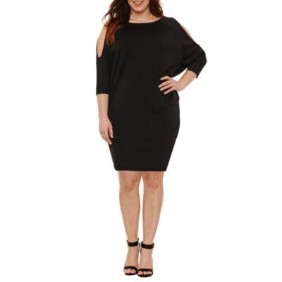 Boutique + 3/4 Split Sleeve Bodycon Dress - Plus