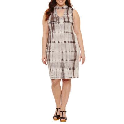 Belle + Sky Sleeveless Tie Dye Bodycon Dress - Plus