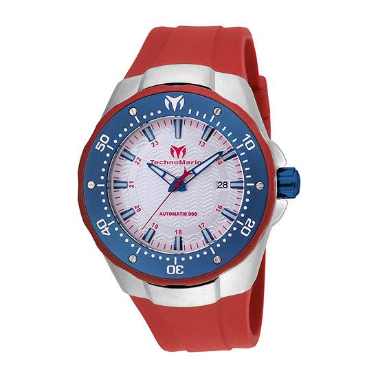Techno Marine Mens Red Stainless Steel Strap Watch Tm-215090