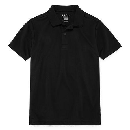 IZOD Little & Big Boys Short Sleeve Wrinkle Resistant Moisture Wicking Polo Shirt, Small , Black
