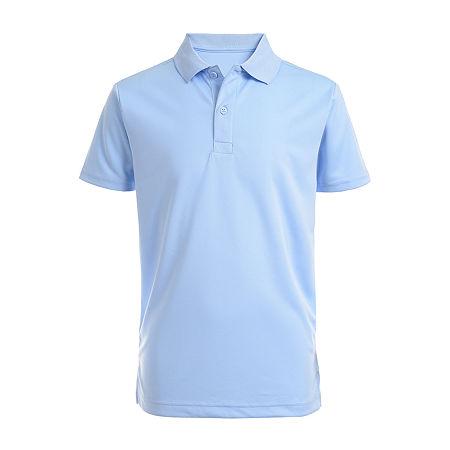 IZOD Little & Big Boys Short Sleeve Wrinkle Resistant Moisture Wicking Polo Shirt, X-large , Blue